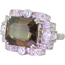 Art Deco 8.14 Carat Orangey Brown Sapphire Cocktail Ring, circa 1935