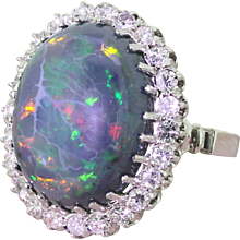 Mid Century 16.50 Carat Natural Black Opal Cocktail Ring, circa 1950
