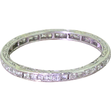 Art Deco Baguette Cut Diamond Full Eternity Ring, Platinum
