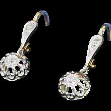 Art Deco Old Cut & Rose Cut Diamond Drop Earrings, French, circa 1930