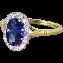 Art Deco 1.75 Carat Sapphire & Diamond Cluster Ring, circa 1925