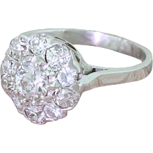 Mid Century 1.25 Carat Old Cut Diamond Cluster Ring, French, circa 1955