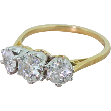 Art Deco 1.13 Carat Old European Cut Diamond Trilogy Ring, circa 1925
