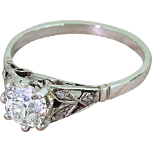 Art Deco 0.91 Carat Old Cut Diamond Engagement Ring, circa 1935