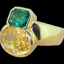 Avant Garde 6.00 Carat Yellow Sapphire & 1.50 Carat Emerald Ring, circa 1970