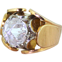 "Mid Century 2.06 Carat Rose Cut Diamond ""Lotus"" Ring, circa 1950"
