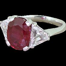 Mid Century 3.60 Carat Natural Ruby & Triangle Cut Diamond Ring, circa 1950