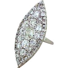 Art Deco 7.17 Carat Old Cut Diamond Navette Cluster Ring, circa 1925