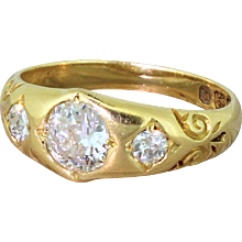 Victorian 0.84 Carat Old Cut Diamond Trilogy Ring, dated 1898
