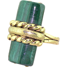 Modernist Malachite Dress Ring, circa 1960