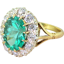Mid Century 3.26 Carat Colombian Emerald & Diamond Coronet Cluster Ring, circa 1950