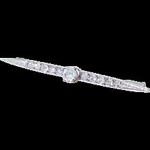 Art Deco 1.03 Carat Old Cut Diamond Pin Brooch, circa 1920