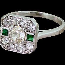 0.91 Carat Old Cut Diamond & Emerald Cluster Ring, 18k Gold