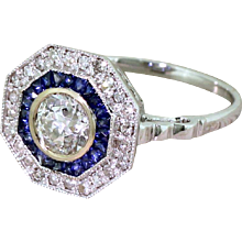 0.86 Carat Old Cut Diamond & Sapphire Octagonal Cluster Ring, 18k Gold