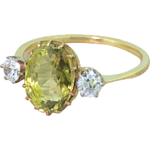 Art Deco 3.17 Carat Chrysoberyl & Old Cut Diamond Trilogy Ring, circa 1925