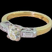 Art Deco 0.82 Carat Old Cut Diamond Engagement Ring, circa 1940