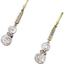 Edwardian 2.11 Carat Old Cut Diamond Drop Earrings, circa 1910