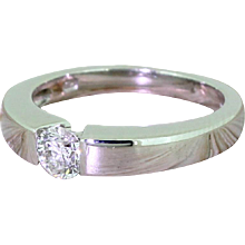 Modern 0.30 Carat Round Brilliant Cut Diamond Solitaire Ring, White Gold