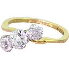 Art Deco 1.28 Carat Old Cut Diamond Trilogy Crossover Ring, circa 1915