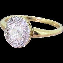Victorian 0.91 Carat Old Cut Diamond Cluster Ring, circa 1890