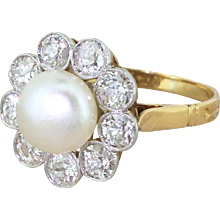 Art Deco Natural Button Pearl & Old Cut Diamond Cluster Ring, circa 1920