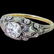 "Art Deco 0.75 Carat Old European Cut Diamond ""Stars"" Ring, circa 1925"