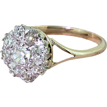 Art Deco 1.42 Carat Old Cut Diamond Round Cluster Ring, circa 1930