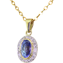 Edwardian 1.75 Carat Blue Sapphire & Old Cut Diamond Pendant, circa 1910