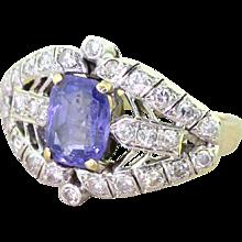 Mid Century 2.44 Carat Purple Sapphire & Diamond Cocktail Ring, circa 1960