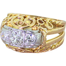 Mid Century 0.80 Carat Old Cut Diamond Ornate Trilogy Ring, circa 1960