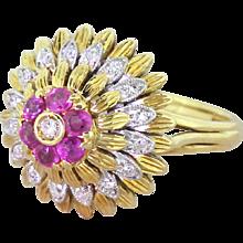 "Mid Century Ruby & Diamond ""Feathers"" Cocktail Ring, circa 1965"