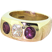 Late 20th Century 1.16 Carat Old Cut Diamond & Ruby Gypsy Ring, dated 1971