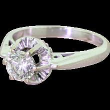 Mid Century 0.72 Transitional Cut Diamond Engagement Ring, circa 1950