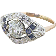 Art Deco 1.65 Carat Old Cut Diamond & Sapphire Cluster Ring, circa 1940