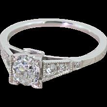 Art Deco 0.59 Carat Old Cut Diamond Engagement Ring, circa 1925
