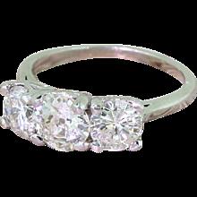 Mid Century 2.14 Carat Old Cut Diamond Trilogy Ring, circa 1960
