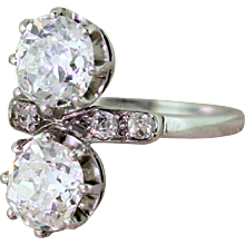 Art Deco 2.24 Carat Old Cut Diamond Two Stone Ring, circa 1920