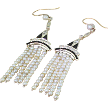 Art Deco Natural Pearl, Diamond & Onyx Chandelier Earrings, circa 1930