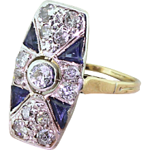Art Deco Old Cut Diamond & Triangle Cut Sapphire Ring, circa 1920