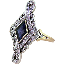 Art Nouveau Kite Cut Sapphire & Old Cut Diamond Ring, circa 1910