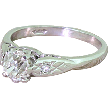 Late 20th Century 0.80 Carat Old Cut Diamond Engagement Ring, dated 1973