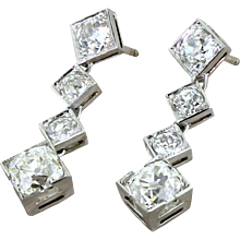 Art Deco 4.71 Carat Old Cut Diamond Drop Earrings, circa 1935
