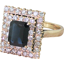 Mid Century 2.14 Carat Sapphire & Diamond Double Cluster Ring, circa 1960