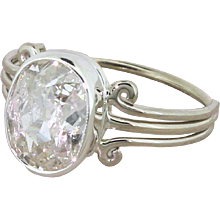 Art Deco 2.03 Carat Old Oval Cut Diamond Engagement Ring, circa 1935