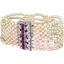 Mid Century Pearl Bracelet with Ruby & Diamond Clasp, circa 1970