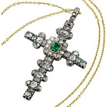 Georgian Emerald, Old Cut Diamond & Rose Cut Diamond Cross Pendant, circa 1800