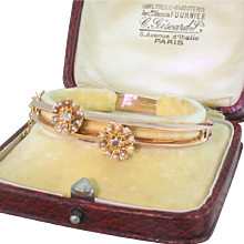 "Edwardian Pearl & Diamond ""Double"" Bangle, with Original Box, circa 1910"
