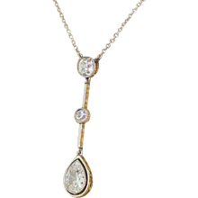 Art Deco 2.35 Carat Old Pear & Mine Cut Diamond Drop Pendant, circa 1920