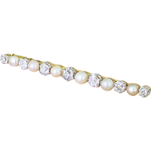 Art Deco Natural Pearl & Old Cut Diamond Pin Brooch, circa 1915
