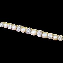 Art Deco Natural Pearl & Old Cut Diamond Pin Brooch, circa 1915